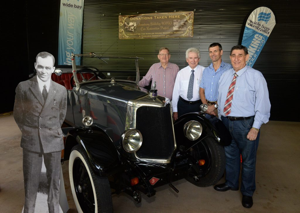 RESTORATION PROJECT: Paul Neville, Lex Rowland, Martin Barrett and Mayor Mal Forman at the Armstong Siddeley launch at the Hinkler Hall of Aviation. Photo: Mike Knott / NewsMail