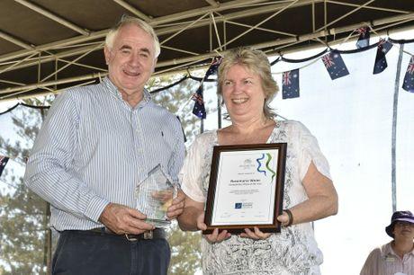 Toowoomba Mayor Paul Antonio with Toowoomba Citizen of the Year Rosemarie Weier.