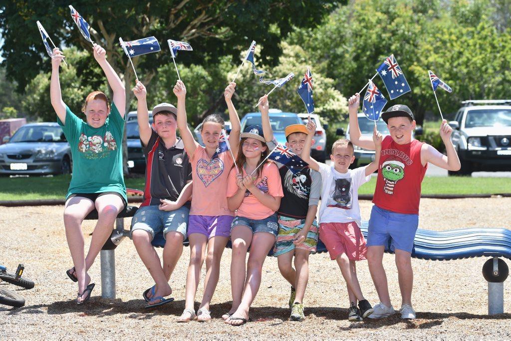 Chloe Kennedy, 13, Troy Passfield, 11, Cassie Kennedy, 12, Emmy Passfield, 10, Jake Passfield, 8, Zac Kennedy, 8, and Jake Kennedy, 11, enjoy the Australia Day celebrations at Howard.