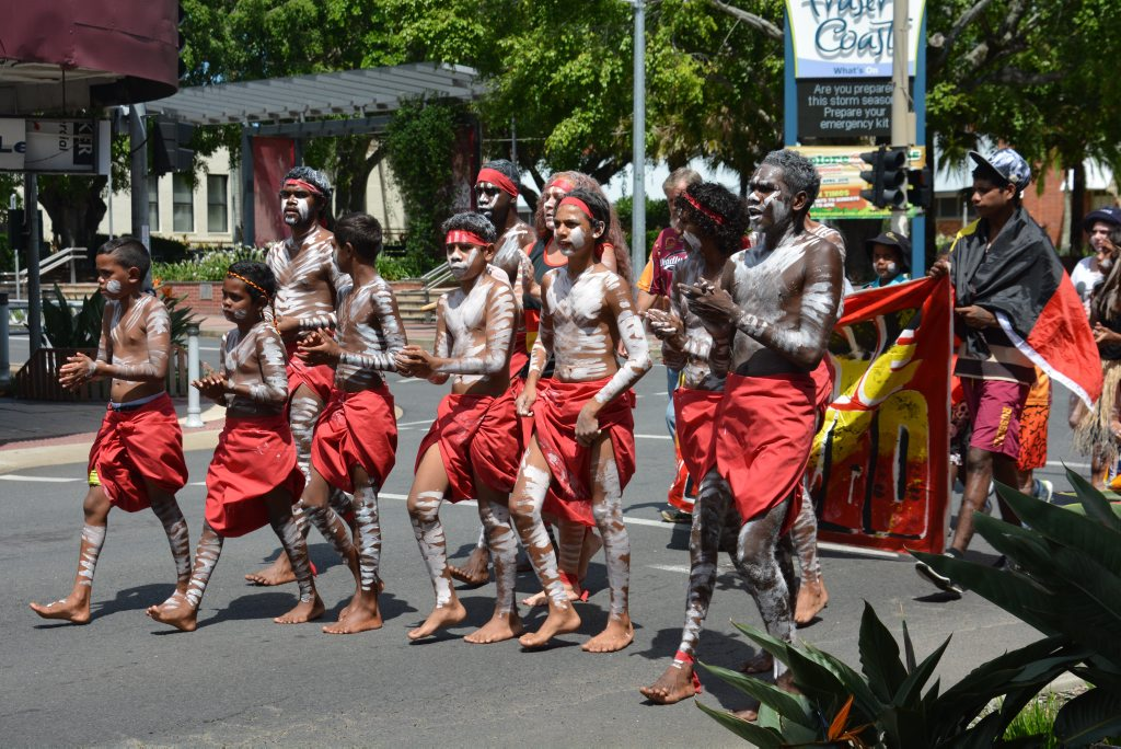 The Woorabinda dancers led the Survival Day March through Maryborough's central business district to Queens Park.