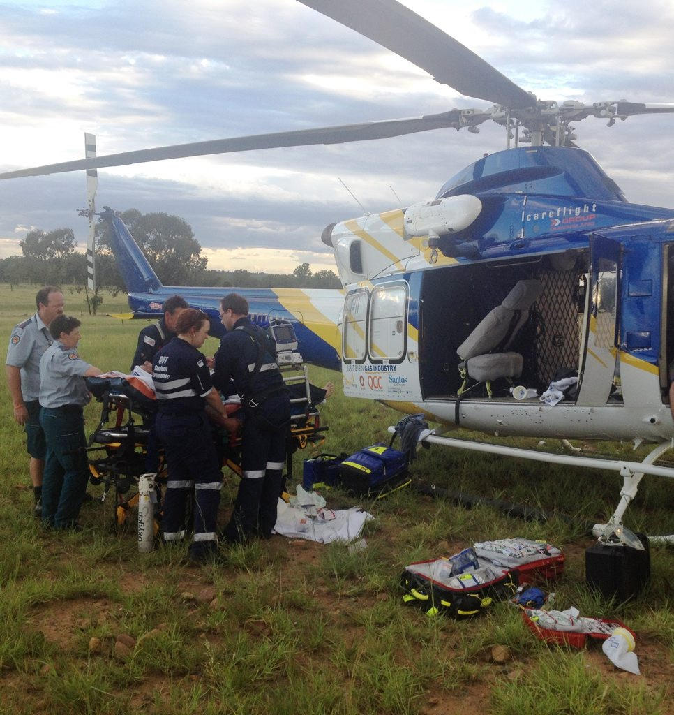 A man is recovering in hospital after being seriously injured while working cattle near Roma. Photo courtesy of RACQ CareFlight.