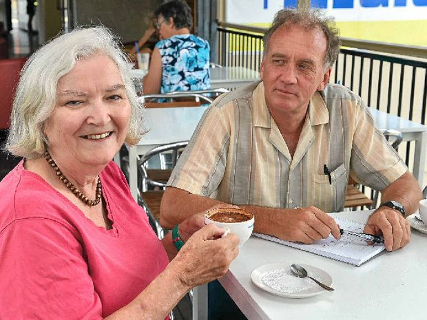 TIME OUT: Greens' Gympie State Election candidate Shena Macdonald makes time for coffee with The Gympie Times' journalist Arthur Gorrie.
