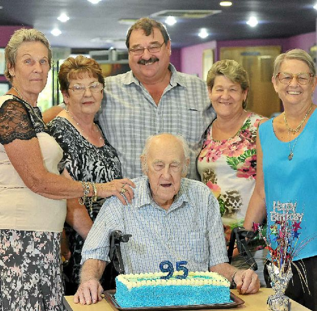 Dudley Roylance is surrounded by his five children Marie Smallcombe, Loraine Howkins, Allan Roylance, Annette Radburn and Fay Dunkerly to celebrate his 95th birthday.