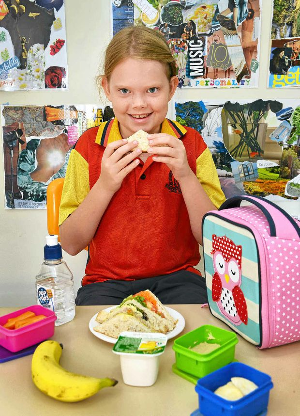SOPHIE'S CHOICE: Sophie Skorpil, 9, enjoys a healthy packed school lunch.