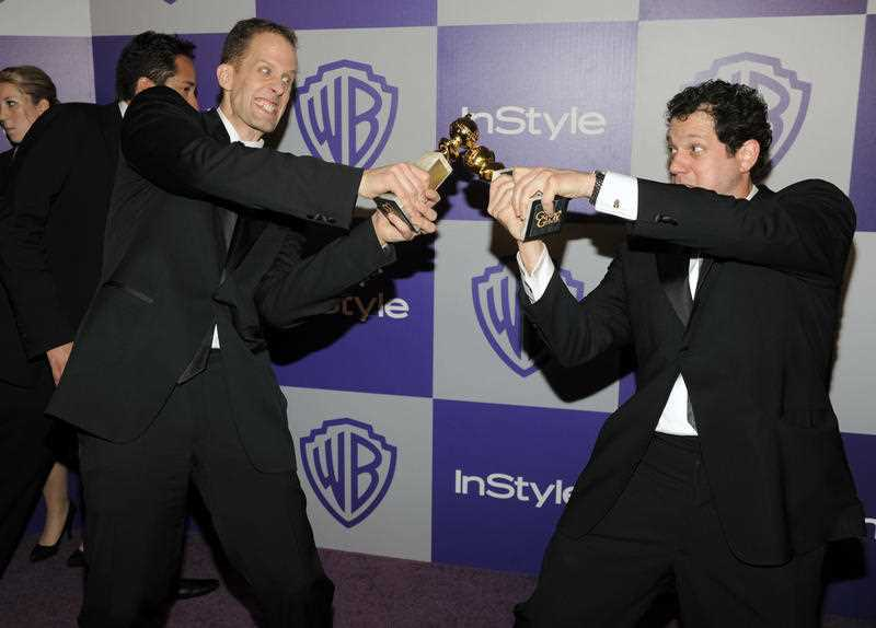 Pete Docter and Michael Giacchino arrive to the InStyle/Warner Bros. party following the 67th Annual Golden Globe Awards on Sunday, Jan. 17, 2010, in Beverly Hills, Calif.