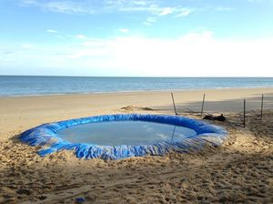 Makeshift pool left behind on beach after Australia Day