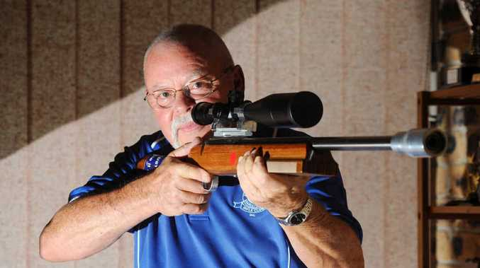 AIMING UP: Rifle shooter Bob Blacklock preparing for the Australian Rimfire Benchrest Association Nationals in Brisbane. PHOTO: LEIGH JENSEN