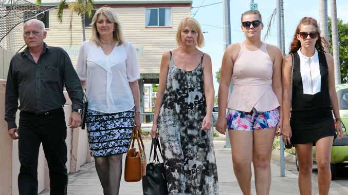 DETERMINATION: Tony Dow, Angela Meiklejohn, Jacquie Garnett, Emily Garnett and Brooke Garnett at yesterday's inquest into Audrey Dow's death in 2013.