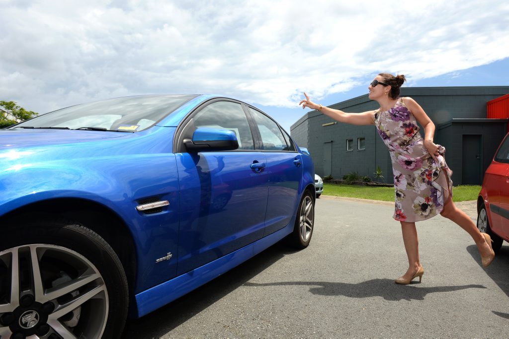 Tweed Daily News reporter Alina Rylko catches a Uber taxi in Tweed Heads. Photo: John Gass / Tweed Daily News