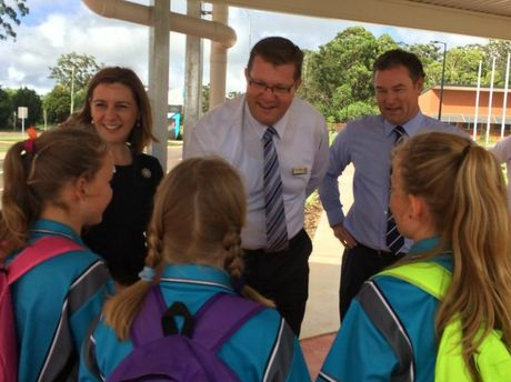 Welcoming students at their first day of school at Highfields State Secondary College are Member for Toowoomba North Trevor Watts and Education Minister John-Paul Langbroek.
