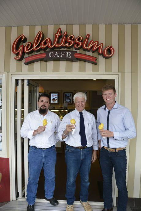 Enjoying an icecream at Gelatissimo Cafe are KAP candidates (from left) Ken Elliott, Bob Katter and Ben Hopper. Photo Andrew Backhouse / The Chronicle