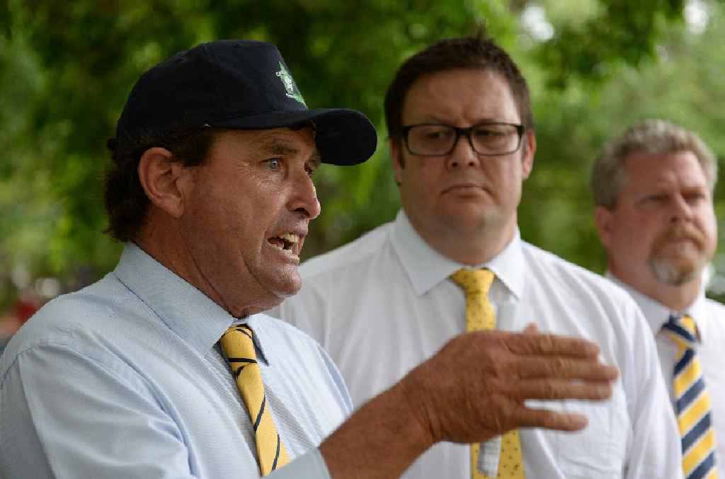 QUEENSLAND ELECTIONS: Palmer United Party Queensland leader John Bjelke-Petersen, Senator Glenn Lazarus and Burnett candidate Richard Love.