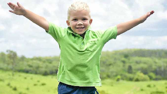 EXCITED: Nate, 3, is raring to go for his first year of eKindy right from the comfort of his own home.
