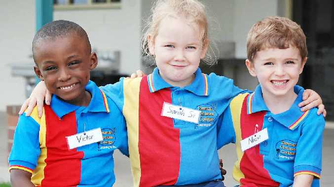 STARTING SCHOOL: Victor Illechukwu, Sarah Stark and Nixon Brownlie started Prep yesterday at the Emerald Christian College.
