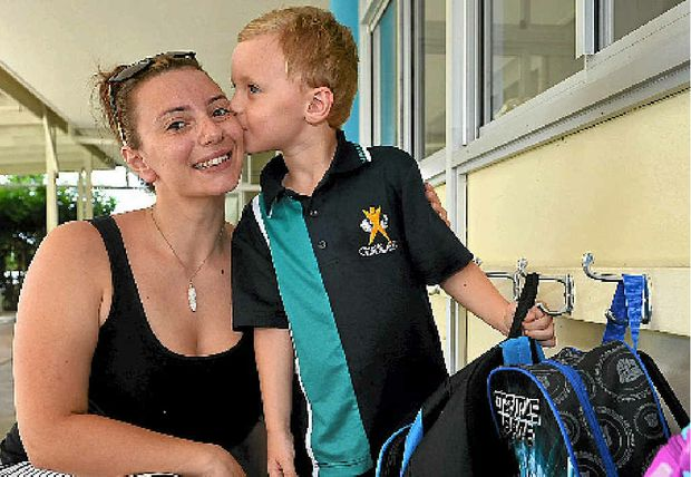 FIRST DAY: Vikki Brook says goodbye to her son William on his first day of Prep.
