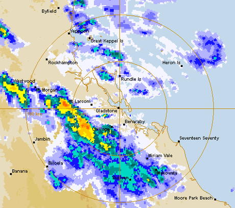 The Gladstone weather radar at 2pm on Wednesday.