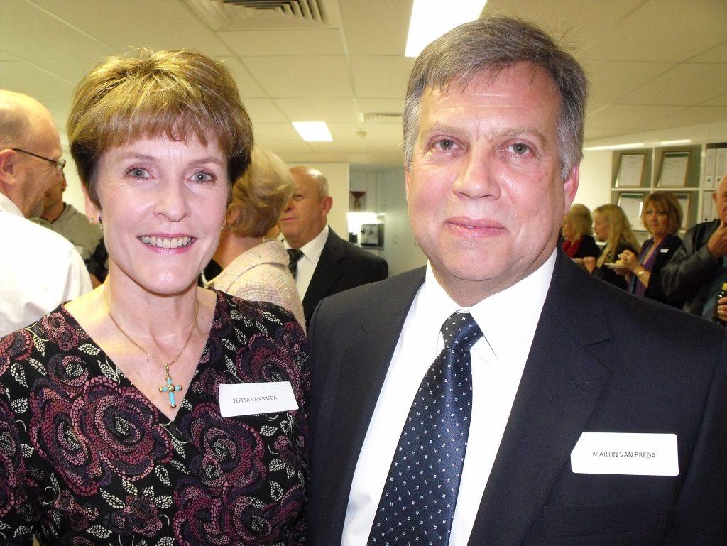 Martin van Breda, 54, with wife Teresa, 55, at the opening of the Engel & Völkers in Mooloolaba