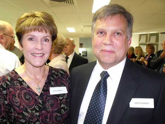 Martin van Breda, 54, with wife Teresa, 55, at the opening of the Engel & Völkers in Mooloolaba