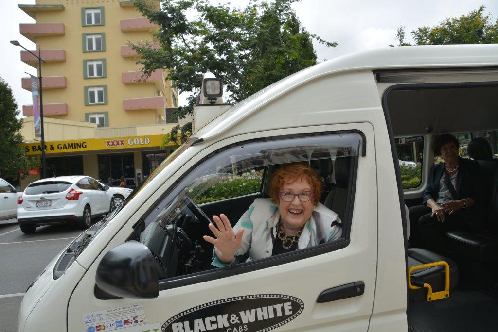 Cr Sue Englart in the new shuttle bus.