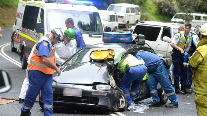 Car crash on Kyogle Rd. Photo: John Gass / Tweed Daily News
