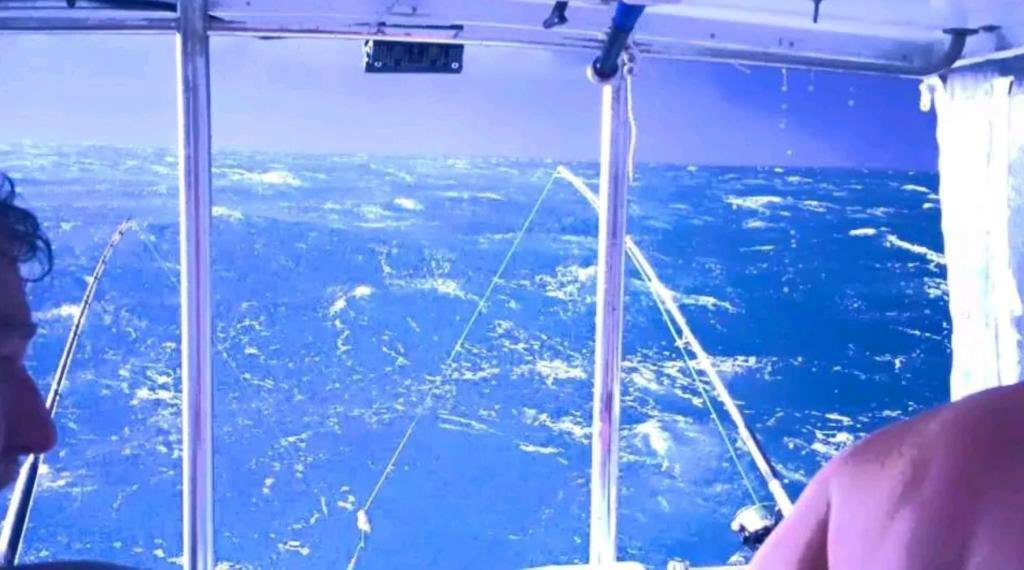 THE PERFECT STORM:Onboard the Scorpio in 59 knot winds with four men recording their wills and telling their families they love them.