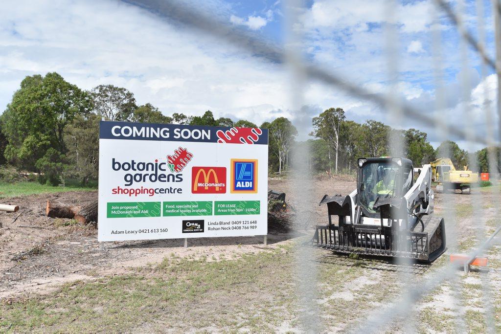 Construction on the Botanic Gardens Shopping Centre at Urangan gets under way.