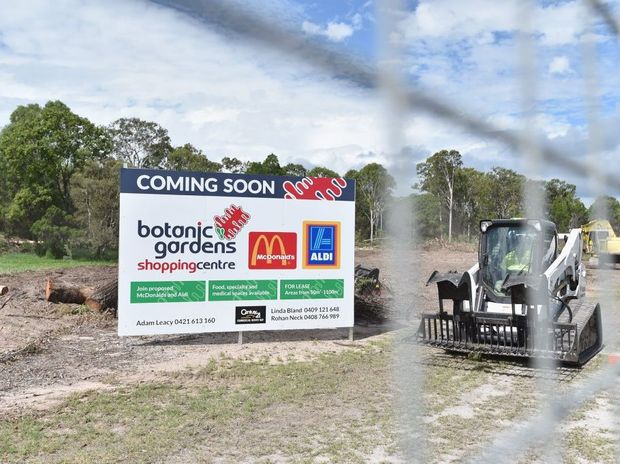 Construction on the Botanic Gardens Shopping Centre at Urangan gets under way.