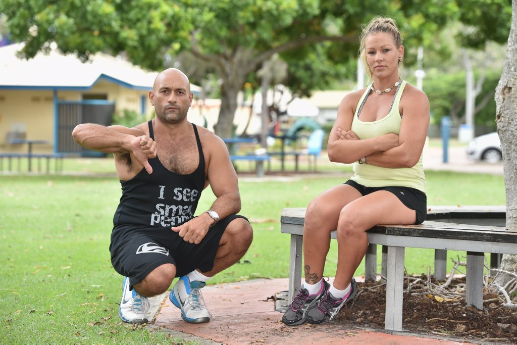 Personal trainers Justin Daisy and Kirsty Wortley give the thumbs down to councils plan to charge people using the parks.