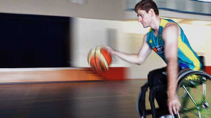 AMBITIOUS: Captain of Queensland under-23 Rolling Thunder Wheelchair Basketball Team, Steven Elliott, in training for his try out for RSL Spinning Bullets National Wheelchair Basketball League.