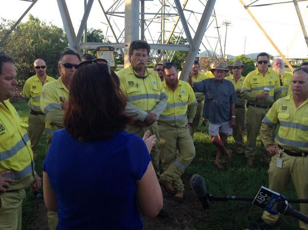 Annastacia Palaszczuk tweeted: Early start in Townsville this morning meeting local energy workers worried about their jobs.