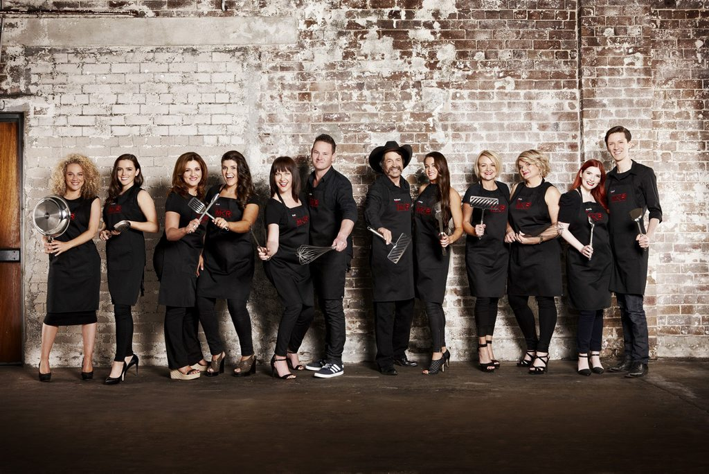 My Kitchen Rules Group 1, from left, Ash and Camilla, Gina and Anna, Kat and Andre, Robert and Lynzey, Jac and Shaz and Annie and Lloyd.