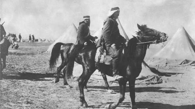 Mounted Turkish troops advancing towards the Suez Canal in 1915.