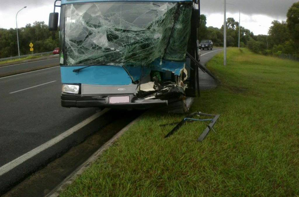 Clayton's Towing helped clear the scene of a bus versus four-wheel-drive crash on the Sunshine Motorway this morning.  Photo: Courtesy of Clayton's Towing.