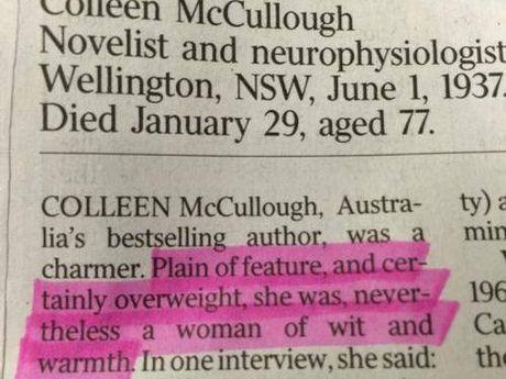 Colleen McCullough's obituary in The Australia