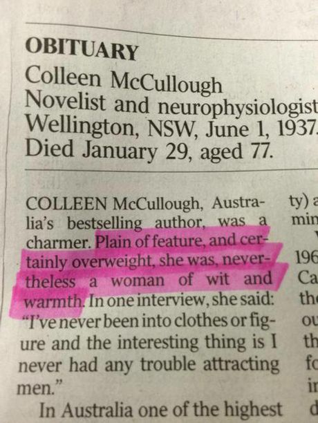 Colleen McCullough's obituary in The Australia