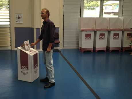 Craig Tomsett at the voting booth.
