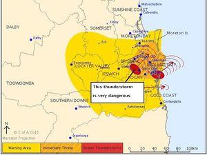 BOM updates severe storm warning as hail hits SEQ