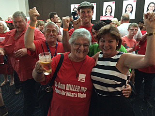 Member for Bundamba Jo-Ann Miller celebrates with supporters following her re-election in the 2015 Queensland election.