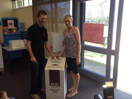 Michael Duggan and his wife Lauren vote.