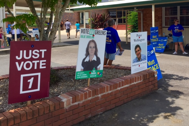 The maroon Just Vote 1 sign at Nicklin has sparked complaints from the ALP and Peter Wellington.