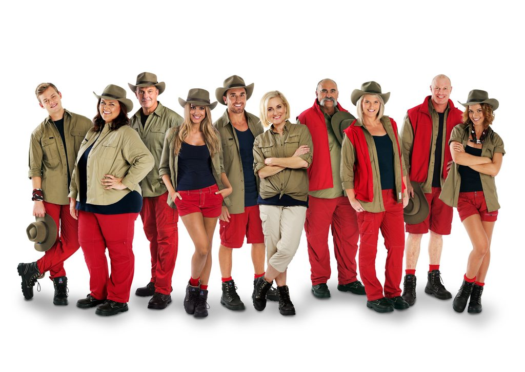 The stars of the TV series I'm A Celebrity... Get Me Out of Here: Joel Creasey, Chrissie Swan, Andrew Daddo, Laura Dundovic, Tyson Mayr, Maureen McCormick, Merv Hughes, Leisel Jones, Barry Hall and Lauren Brant.