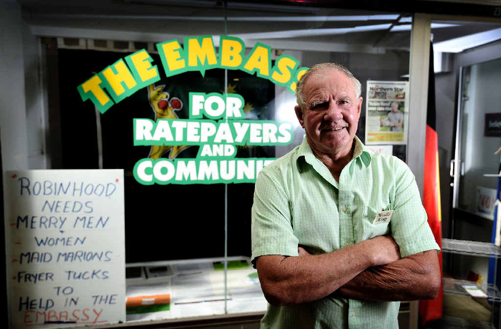 Neville King in front of the Ratepayers and Community Embassy he set up to bring attention to the new rates proposed by Lismore Council.