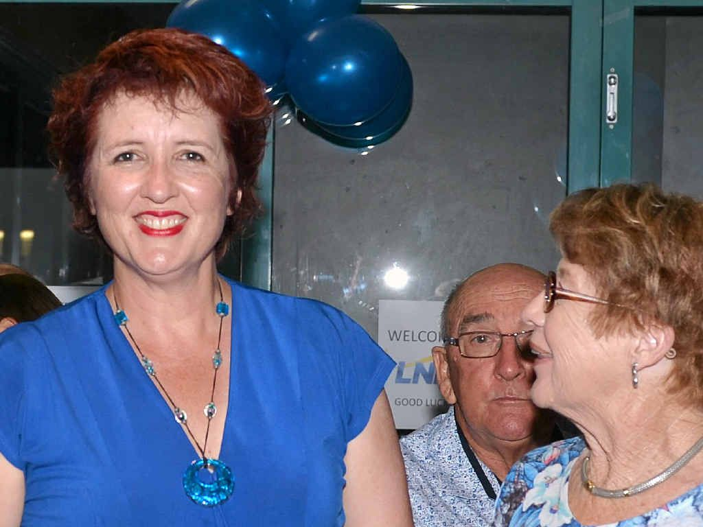 REDUCED MARGIN: Fiona Simpson, pictured with constituents at the Duporth Tavern, suffered a swing of 15.3% against her.