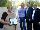 Mahatma Gandhi footbridge was recently opened in Springfield. Gandhi's granddaughter Ela Gandhi visited the bridge, joined by Mayor Paul Pisasale, councillor David Morrison and Jim Varghese. Photo: Kate Czerny / The Queensland Times