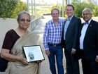 Ela Gandhi visits city's tribute to her grandfather, Mahatma