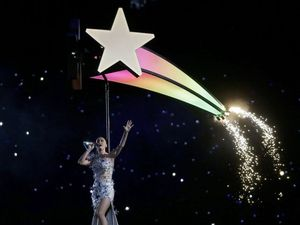 Katy Perry roars and flies high in Super Bowl halftime show