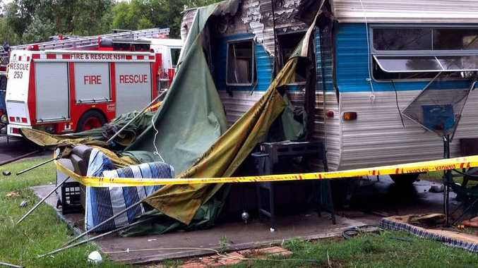 The caravan where the gas explosion took place.