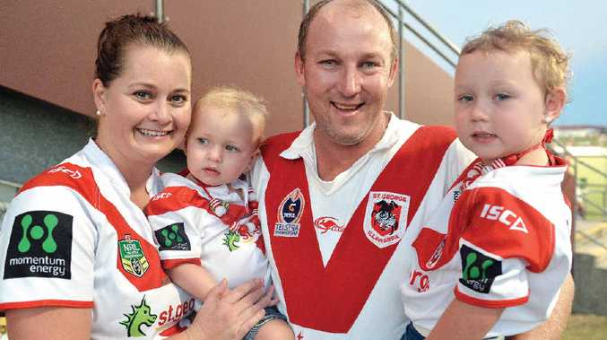 Brett and Natasha Allgood, and daughters Emily and Lilly, at the Cutters and Dragons match.