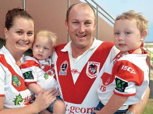 NRL Dragon, George Rose, stops for selfie with supporter