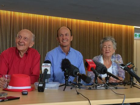 Peter Greste's brother Andrew Greste (centre) with parents Lois and Juris, celebrate the freeing of the jailed journalist.